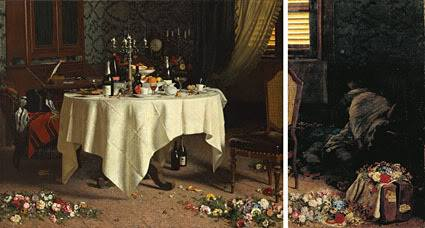 """Angelo Morbelli, """"Asfissia!"""", 1884 GAM, Torino. Qui la tavola è completa del pannello mancante, che riporta un fatto di cronaca dell'epoca."""