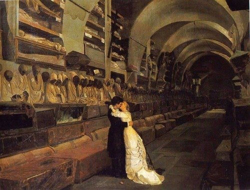 """Calcedonio Reina, pittore, poeta, e anche viaggiatore, nel 1881 dipinse l'amore e la morte romanticamente vestiti con gli abiti più """"tradizionali"""". Calcedonio Reina, """"Amore e morte"""", 1881, Museo del Castello Ursino, Palermo"""