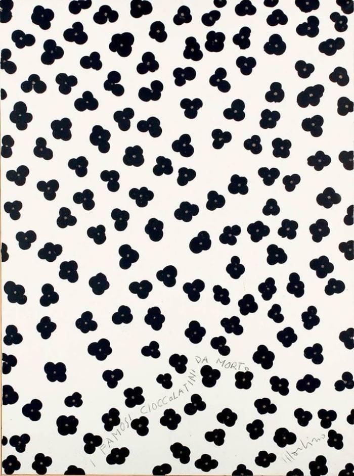 """Per tutto c'è una dolce consolazione. Gusto? Pacatamente amaro. * Aldo Mondino, """"I famosi cioccolatini da morto"""", 1969, GAM, Torino"""