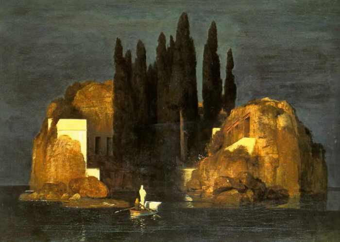 """Böcklin dipinse cinque versioni dell'isola dei morti dal 1880 al 1886. L'artista completò la prima versione del dipinto nel maggio 1880 per Alexander Günther, ma la tenne per sé stesso. Arnold Böcklin, """"L'isola dei morti"""", prima versione, 1880, Kunstmuseum Basilea fonte wikipedia"""