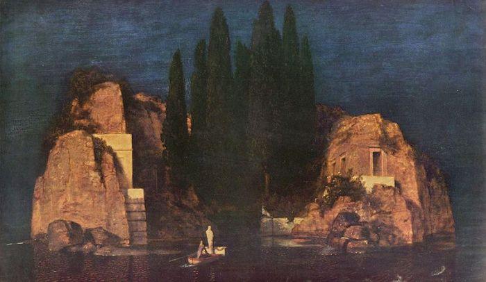 """Nel mese di aprile del 1880, a Firenze, Böcklin venne visitato da Marie Berna. La donna fu talmente colpita dalla prima versione del quadro che chiese a Böcklin di realizzarne una copia per lei. Su richiesta di Berna, Böcklin aggiunse nella seconda versione la figura bianca e la bara, un'allusione alla recente scomparsa del marito. Successivamente, l'artista aggiunse questi due elementi anche alla cosiddetta prima versione, chiamando entrambe le opere Die Gräberinsel (""""L'isola dei sepolcri""""). Arnold Böcklin, """"L'isola dei morti"""", seconda versione, 1880, Metropolitan Museum, New York fonte wikipedia"""