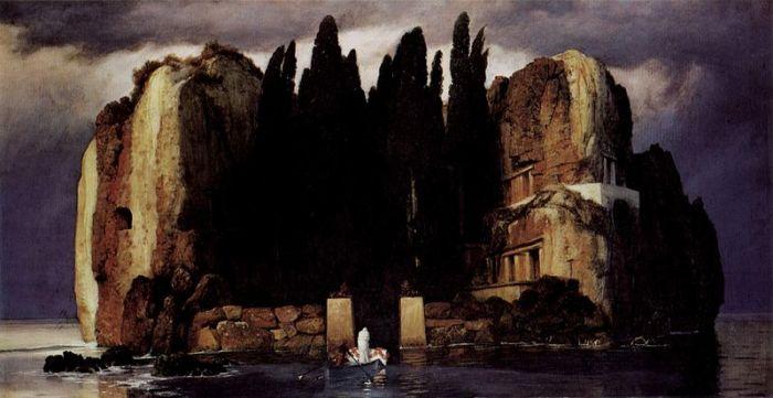 """Arnold Böcklin, """"L'isola dei morti"""", quinta versione, 1886, Museum der bildenden Künste di Lipsia"""