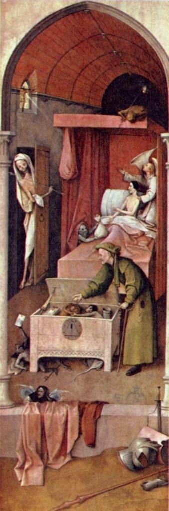 """Hieronymus Bosch e """"La morte di un avaro"""". Chissà se il vecchio emaciato avrà dato retta all'angelo che gli indica la salvezza, il raggio di luce che emana dalla finestrella, o al diavolaccio che lo tenta offrendogli un sacco di monete. Intanto, la morte è pronta a scoccare la sua freccia... Hieronymus Bosch, """"Morte di un avaro"""", 1494 ca., National Gallery of Art, Washington D.C."""