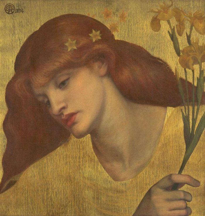 """Lilias non è viva. Lilias è una fanciulla morta che, dal cielo, anela a ricongiungersi col proprio amato. Che lo aspetta. Che lo desidera. A ritrarla è Dante Grabriel Rossetti, che si ispira a """"The Raven"""" di Sir Edgar Allan Poe per stravolgerne la prospettiva. Non la disperazione di chi è rimasto in terra, ma l'anelito struggente di chi è volato in cielo. * Dante Gabriel Rossetti, """"Sancta Lilias"""", 1874, Tate"""