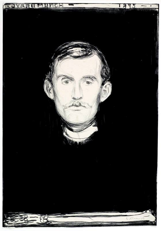 "«Che cos'è l'arte? L'arte nasce dalla gioia e dal dolore. Ma soprattutto dal dolore. Nasce dalla vita umana». * Edvard Munch, ""Self-portrait with skeleton arm"", 1895, matita litografica, inchiostro di china e raschietto"
