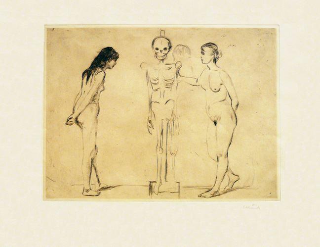 """Due signore e uno scheletro… Non so, a me questo lavoro visto alla mostra su Edvard Munch, a Genova, mi ha fatto venire in mente Silvia e Serena, ossia noi due signore, che giocherelliamo intorno a un oggetto di """"rara"""" bellezza. * Edvard Munch, """"The Women and the Skeleton"""", 1896. Ora a Genova, Palazzo Ducale."""