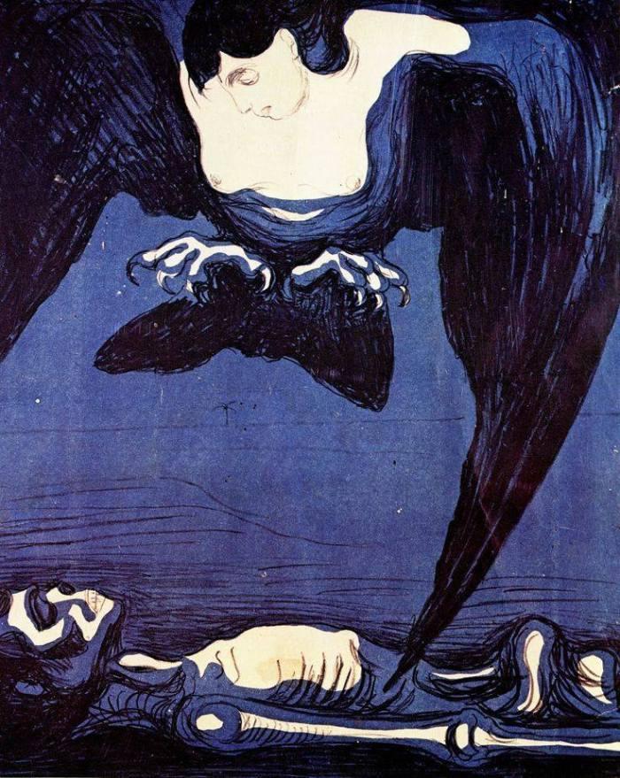 """«La solitudine si poserà sui nostri tetti con le sue ali da chioccia». (Bram Stoker, Dracula) """"Da chioccia"""" è traduzione mia dall'inglese brooding. Può voler pure dire tetre, pensierose, meditabonde. Ma è di una chioccia avvolgente che sento il bisogno. * Edvard Munch, """"Vampire"""", 1900, Munchmuseet Oslo"""
