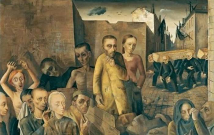 """Essere perseguitati, fuggire, nascondersi, essere traditi. Morire. La vita, breve, di Felix Nussbaum racconta tutto questo. E nei suoi lavori non c'è il benché minimo spiraglio di luce. Il morto, in questo quadro, è colui che sta meglio. *Felix Nussbaum, """"I dannati"""", 1943"""