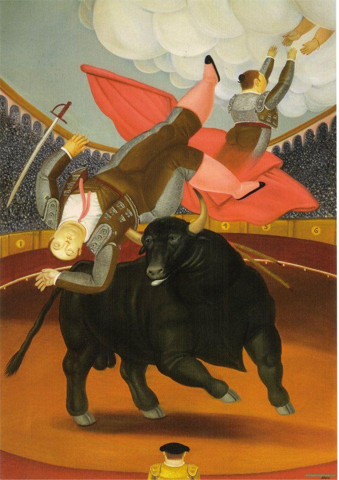"""Ieri ho giusto visto il fiero ritratto di un torero guerciato dal toro alla mostra World Press Photo al castello di Bard. Oggi il torero lo facciamo morire e assurgere in cielo, come lo rappresenta Botero. * Fernando Botero, """"La morte di Luis Chalet"""", 1984"""