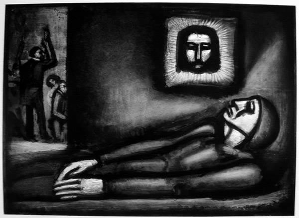 """Georges Rouault realizzò due tomi da 50 tavole ognuno (Miserere e Guerra), pubblicati nel 1948 col titolo di """"Miserere"""". Il """"morto che parla"""" (cioè la tavola 47) del tomo I si intitola """"De profundis"""", dalle prime parole del Salmo 130 intonato per i defunti. * Georges Rouault, """"Miserere"""", n° 47, """"De profundis"""", 1927"""
