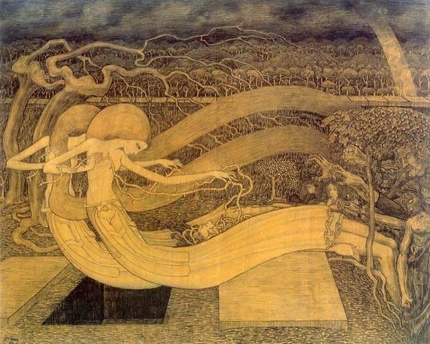 """Oh morte, dov'è la vittoria? Così interroga San Paolo nella I Lettera ai corinzi. E Toorop si lascia ispirare da questa domanda, ritraendo due figure femminili, scheletriche e sensuali che cercano di liberare un uomo intrappolato in un arbusto spinoso: la vita, appunto. Che la vittoria consista proprio nel liberarsi di lei? * Jan Toorop, """"Oh Grave, Where Is Victory?"""", 1892"""
