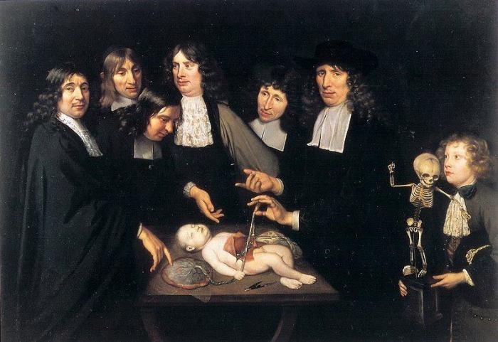 """Una volta partecipare a una lezione di anatomia doveva essere un vero spasso. Ci portavano anche i bambini a giocare coi loro pupazzetti...  * Jan Van Neck, """"The Anatomy Lesson of Professor Frederik Ruysch"""", ca 1683, Amsterdams Historisch Museum"""