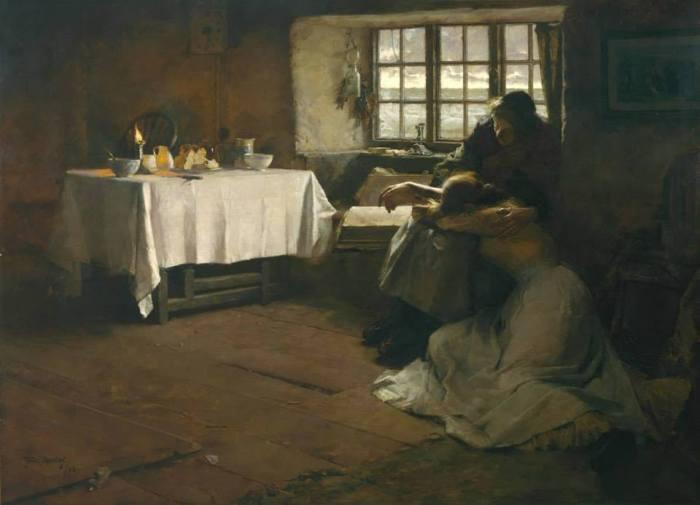 """Frank Bramley riprende il titolo di questo quadro da un passaggio di John Ruskin, secondo cui """"Cristo è il timoniere di ogni nave"""". A volte però le navi il timone lo perdono, e sono travolte dalla tempesta. A volte i marinai non tornano, e le giovani spose hanno ben poca consolazione... Quella della suocera, quella di una Bibbia aperta, quella di un tavolo apparecchiato come fosse un altare. * John Ruskin, """"A Hopeless Dawn"""", 1888, olio su tela, Tate Gallery"""
