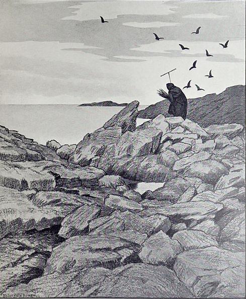 """Theodor Severin Kittelsen (1857-1914): rappresentazioni della natura, delle leggende nordiche e ispiratore iconografico di alcuni gruppi di musica metal. In """"Svartedauen"""" mise in scena la Nera Signora e il suo percorso nelle terre di Norvegia. * Theodor Severin Kittelsen, """"Svartedauen"""", 1900"""