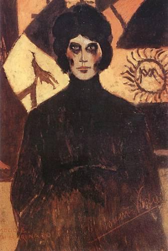 """Una donna, una moglie. Che ha già impressi sul volto e nell'abito i segni del dolore, forse del lutto futuro. O forse solo di un periodo storico difficilissimo fatto anche di guerra e incertezze. Il suo volto è allucinato, magnetico, intenso. * Lorenzo Viani (1882-1936), """"Moglie di marinaro"""", olio su cartone, coll. privata"""