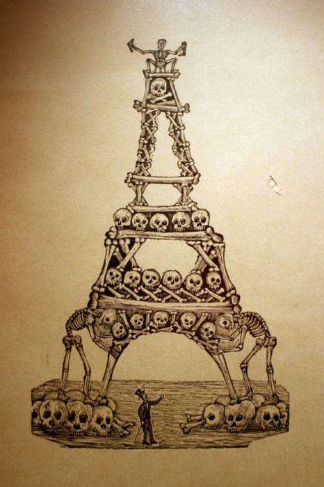 """Il tema dell'ossario è importante. Anche quello del tour. Manuel Manilla, artista messicano vissuto tra il 1830 e il 1895 li unisce in una divertente interpretazione di uno dei monumenti più noti al mondo, la tour Eiffel. * Manuel Manilla (attribuito a), """"Eiffel Tower of calaveras"""", xix sec."""