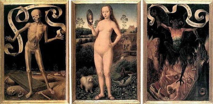 Hans Memling, Trittico della terrena vanità e della divina salvazione, 1485 ca, Musée des Beaux-Arts, Strasburgo
