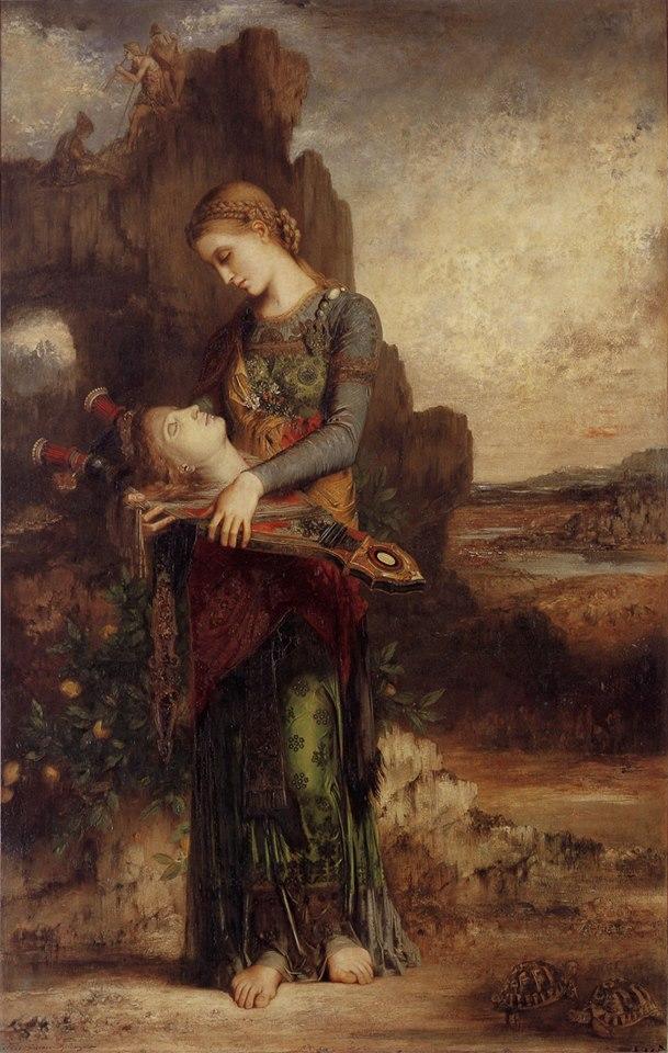 """Gustave Moreau, """"Ragazza tracia con la testa di Orfeo"""", 1865"""