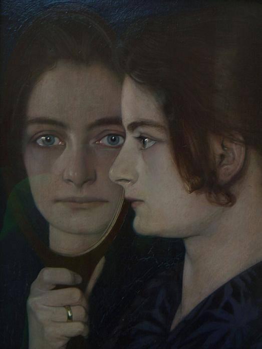 """Non so se c'entra con la morte, ma questo volto di donna specchiato emana un incanto luttuoso, come """"Grief"""", forse il dipinto più noto di Oskar Zwintscher. Cosa pensa la donna? Cosa il suo riflesso specchiato? Di certo non sono pensieri lievi, quelli che si colgono nei suoi occhi liquidi. * Oskar Zwintscher, """"Die Frau des Künstlers"""", 1901"""