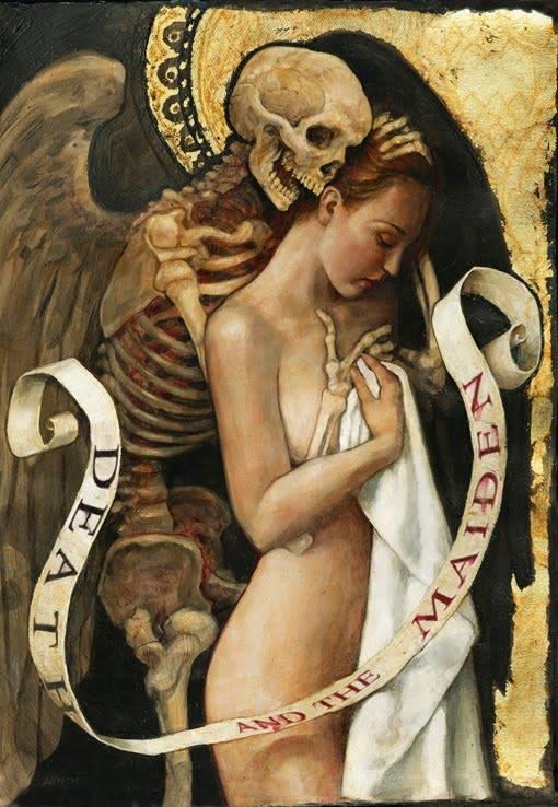 """Armonia. Sintonia profonda. Amore. Eccone un bell'esempio, moderno e antico al tempo stesso, che gioca sul motivo della Morte e la Fanciulla. * P.J. Lynch, """"Death and the Maiden"""", 2010 >> http://pjlynchgallery.blogspot.it/"""