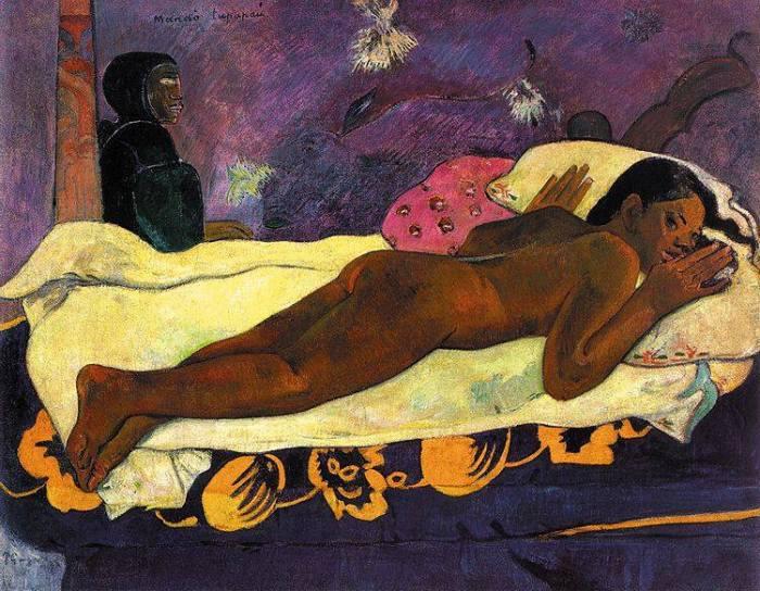 """Oggi la morte la vediamo con gli occhi di Paul Gauguin, che le dà una sembianza calda e sensuale. La donna raffigurata è Teha'amana, la giovane amante del pittore. Gauguin avrebbe preso ispirazione per il quadro quando, tornando da Papeete in una sera di tempesta, trovò Teha'amana al buio nella capanna, sdraiata sul letto e terrorizzata dall'oscurità. Alla memoria visiva, il pittore aggiunge a sinistra nel quadro, incappucciato e con l'aria minacciosa, un Tupapau, lo spettro polinesiano dei morti. Il titolo dell'opera, in genere tradotto con """"Lo spirito dei morti veglia"""" è in realtà molto ambiguo, perché non sa chi sia il soggetto della frase e della veglia: può significare sia """"Lei pensa allo spettro"""", o """"Lo spettro pensa a (oppure veglia su di) lei"""". * Paul Gauguin, """"Manao Tupapau"""", 1892, Albright-Knox Art Gallery"""