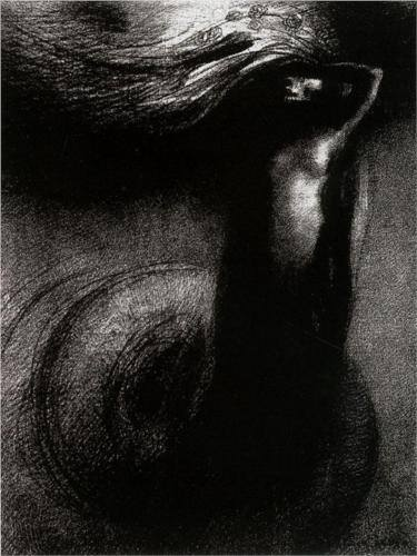 "Odillon Redon, Death: ""My Irony Surpasses all Others!"" (The Temptation of Saint Anthony, series 2, plate 3, 1889, Staedel Museum, Frankfurt am Maim)"