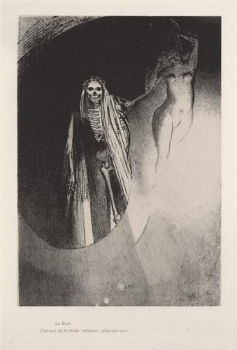 "Odilon Redon, Death: ""It Is I Who Make You Serious. Let Us Embrace Each Other"" (""The Temptation of Saint Anthony"" series 3, plate 20, 1896, Stadel Museum, Frankfurt am Maim)"