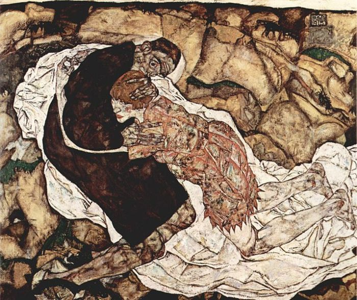 """La morte abbraccia una giovane donna dalle gambe tornite e le braccia esilissime sullo sfondo surreale di un paesaggio composto di rocce e volti umani. È un abbraccio sensuale, un po' malinconico, forse, come quello di una coppia un po' disperata, che sente su di sé il peso della caducità. Egon Schiele, """"Der Tod und die Frau"""", 1915, Österreichische Galerie Belvedere, Vienna"""