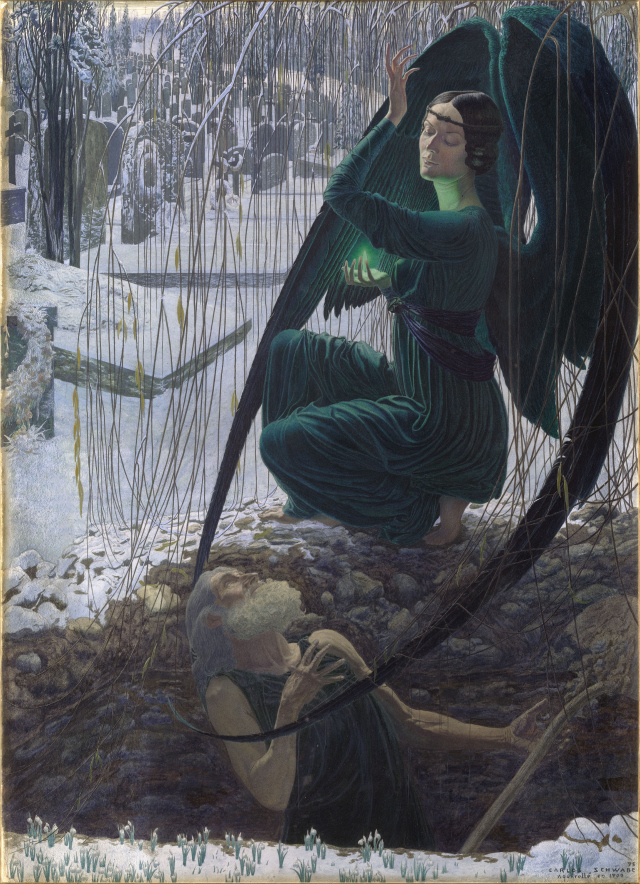 "Carlos Schwabe, ""The Death of the Gravedigger"", 1895"