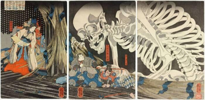 """C'era una volta una principessa, che si chiamava Takiyasha, la quale, anziché risolvere le cose dialogando si dava da fare a evocare scheletri e mostri per spaventare le proprie rivali e i propri nemici. Vi consigliamo di eguagliarla, se avete conti in sospeso. * Utagawa Kuniyoshi, """"Trittico della strega Takiyasha e dello scheletro"""", 1844, V&A Museum"""