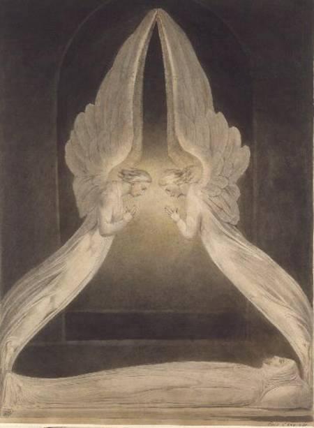 """William Blake fece 80 illustrazioni per la Bibbia commissionategli da Thomas Butts. Qui c'è il corpo di Cristo, non nel senso dell'ostia, ma del suo cadavere deposto in un sepolcro e sorvegliato da due angeli che sono quasi una costruzione architettonica. I colori, le luci, danno un senso di silenzio e di mistero. * William Blake, """"Christ in the sepulchre, guarded by angels"""", acquerello, 1805 ca., V&A Collections, P.6-1972"""