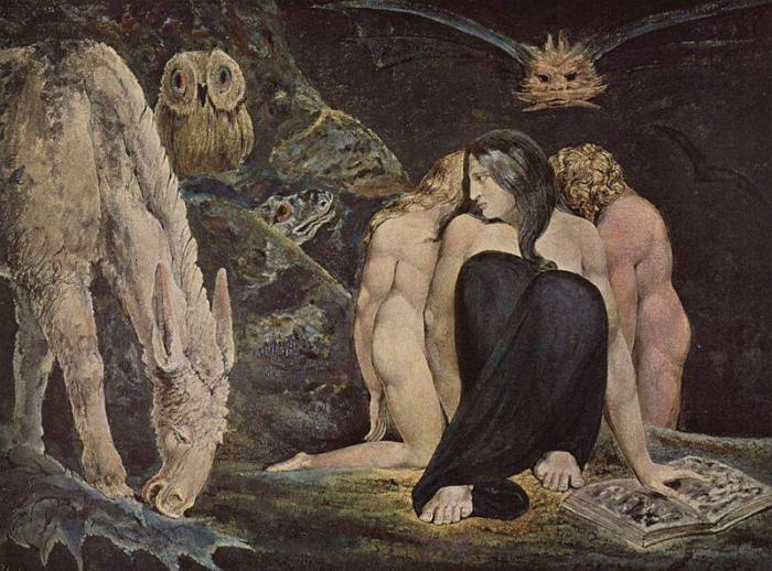 "William Blake e ""The Night of Enitharmon's Joy"", anche chiamata ""Ecate"" o ""Le tre parche"". * 1795, Tate Britain, Londra"