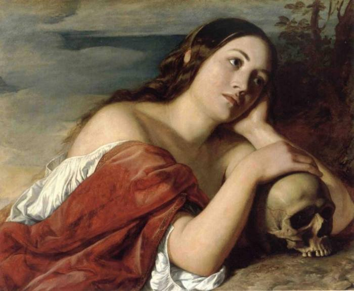 """«prima che si rompa il cordone d'argento e la lucerna d'oro s'infranga e si rompa l'anfora alla fonte e la carrucola cada nel pozzo e ritorni la polvere alla terra, com'era prima, e lo spirito torni a Dio che lo ha dato. Vanità delle vanità, dice Qoèlet, e tutto è vanità». Così, ogni tanto fa bene ricordarlo, quale che sia la destinazione successiva. * William Dyce, """"Omnia Vanitas"""", 1848, Aberdeen Art Gallery & Museums"""