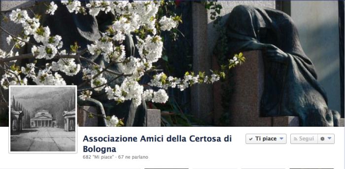La cover di Amici della Certosa di Bologna, pagina facebook con quasi 700 fan.