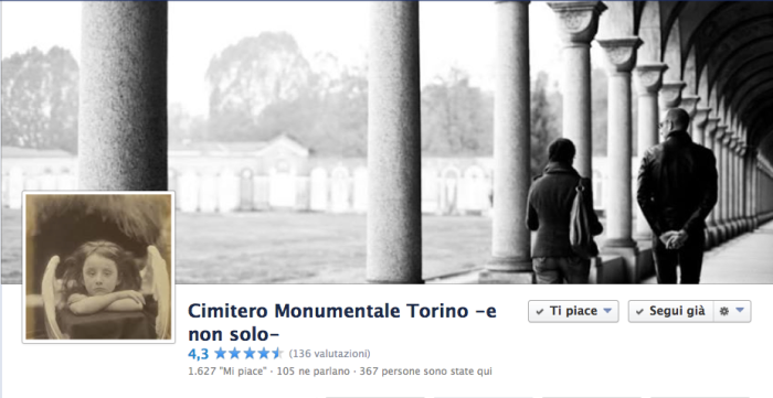 La cover di Cimitero Monumentale Torino –e non solo–, pagina facebook con oltre 1630 fans.