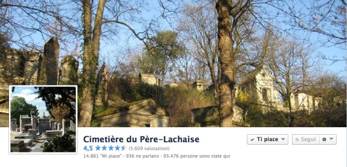 La cover del Cimitière du Père Lachaise, pagina facebook con oltre 14.000 fans.