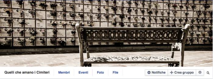 La cover di Quelli che amano i cimiteri, gruppo facebook con 710 membri.