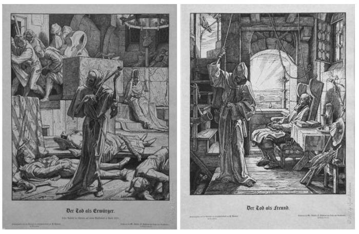 """""""Morte il nemico – Morte l'amico"""", Alfred Rethel, Germania, stampa da incisione su matrice in legno, 1851."""