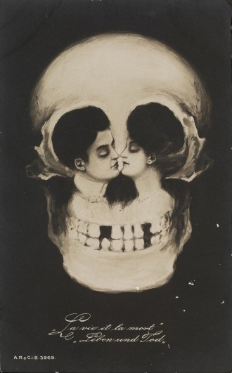 """La vie et la mort, leben und tod"", cartolina, artista sconosciuto, c.a. 1900."
