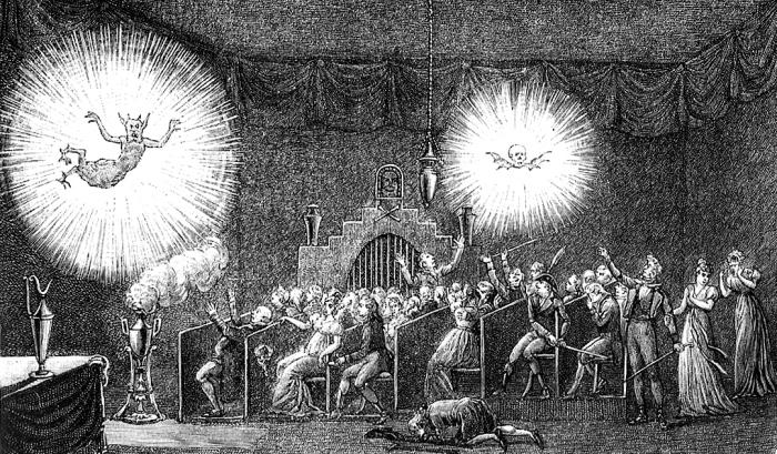 Incisione che mostra uno spettacolo di Robertson a Parigi nel 1797.