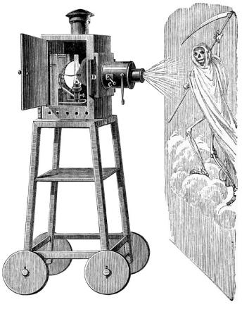 Incisione che mostra la lanterna magica di Robertson