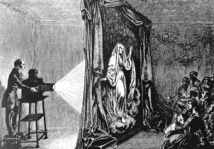 Incisione che mostra come avvenivano le proiezioni durante uno spettacolo (non specificato) di fantasmagoria.