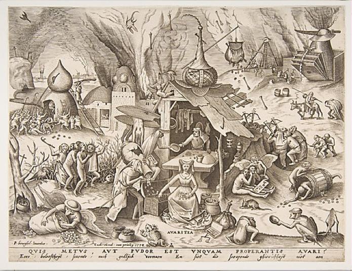 Pieter Van der Heyden, Avaritia. Quis Metus Aut Pudor Est Unquam Properantis Avari