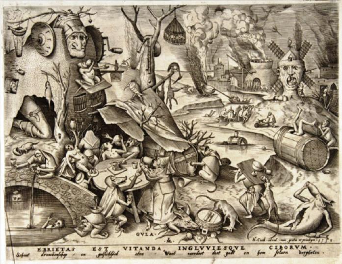 Pieter Van der Heyden, Gula. Ebrietas Est Vitanda, Ingluviesque Ciborum